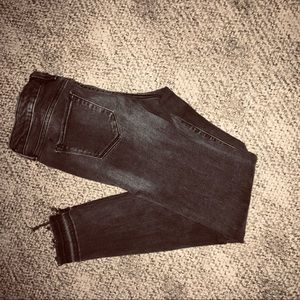 Cropped black denim jeans